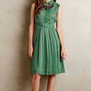 Anthropologie Green Polka Dot Brynn Shirtdress XS